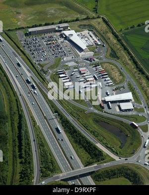 Aerial view of Wetherby Services on the A1M - Stock Photo