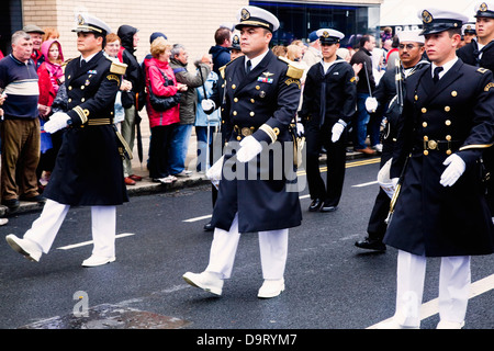 Soldiers marching down the street in the tall ship race parade;Dublin county dublin ireland - Stock Photo