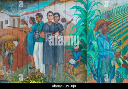 Murals in Mission District neighborhood in San Francisco - Stock Photo