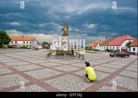 Tykocin in north-eastern Poland, a historical town. The statue of Stefan Czarniecki on the main square. - Stock Photo