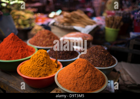 spices for sale in the market, Pyin Oo Lwin, Myanmar (Burma) - Stock Photo