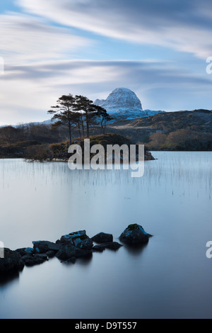 Loch Druim Suardalain with Mts Canisp & Suilven dusted in snow, Sutherland, Scotland, UK - Stock Photo