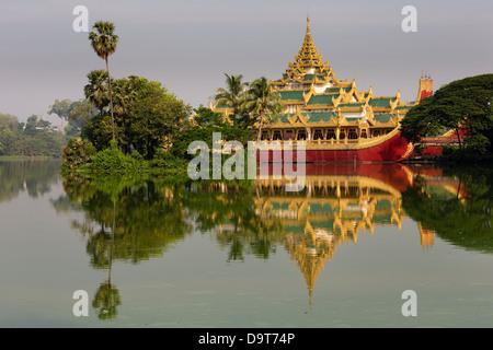 The Karaweik, Kandawgyi Lake, Yangon, Myanmar (Burma) - Stock Photo