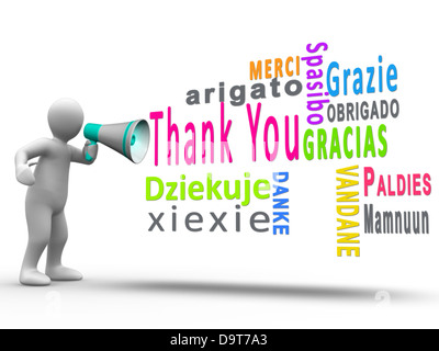 White human figure revealing thank you in different languages - Stock Photo