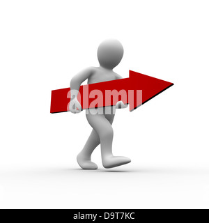 White human figure walking with red arrow in hands - Stock Photo