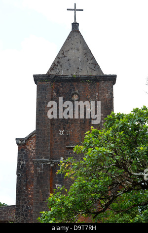 The Ruins of the abandoned Catholic Church on Bokor Hill in the Province of Kampot in Cambodia - Stock Photo