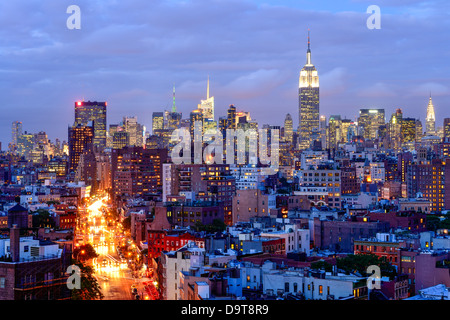 Night view of Midtown Manhattan, New York - Stock Photo