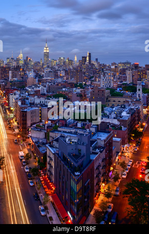 Bird's eye view of Midtown Manhattan in dusk - Stock Photo