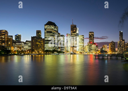 Evening skyline of Central Business District of Brisbane in Queensland Australia - Stock Photo