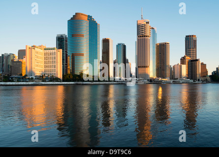 Dawn skyline of Central Business District of Brisbane in Queensland Australia - Stock Photo