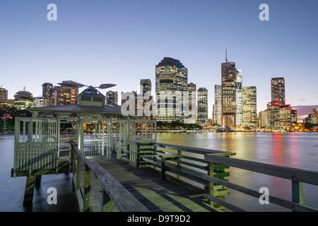 Evening skyline of Central Business District of Brisbane in Queensland Australia - Stock Photo