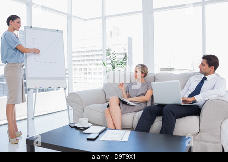 Business woman presenting something on a whiteboard - Stock Photo