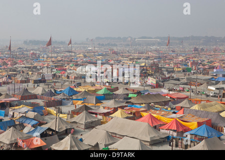 Campsite at the Kumbh Mela 2013 in Allahabad, India - Stock Photo