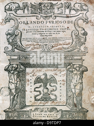 Ludovico Ariosto (1474-1533). italian poet. Book cover 'Orlando Furioso, edited in Lyon (Lugdunum), 1556. - Stock Photo