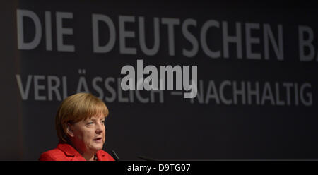 Berlin,Germany. 26th June, 2013. German Chancellor Angela Merkel gives a speech at the GermanFarmers' Convention in Berlin,Germany, 26 June 2013. The two-day event ends on 27 June. Photo: RAINERJENSEN/dpa/Alamy Live News