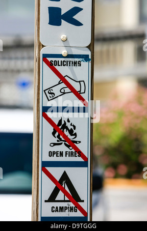 Beach Sign - No Soliciting, Ope Fires, Camping - Stock Photo