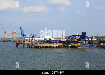 DFDS passenger and car ferry terminal from Sirena Seaways ferry to Denmark in Parkeston Quay, Harwich Port, Essex, - Stock Photo