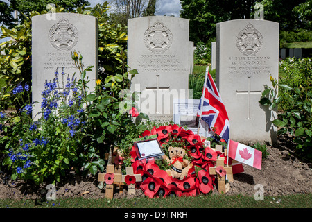 Essex Farm Cemetery, WWI burial ground for First World War One British soldiers at Boezinge, West Flanders, Belgium - Stock Photo