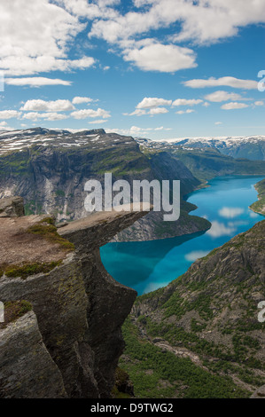 Trolltunga, Troll's tongue rock above lake Ringedalsvatnet, Norway - Stock Photo