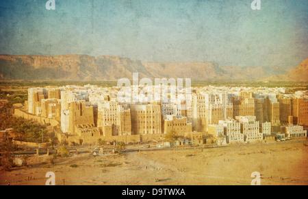 Vintage image of Shibam, Hadhramaut province, Yemen - Stock Photo