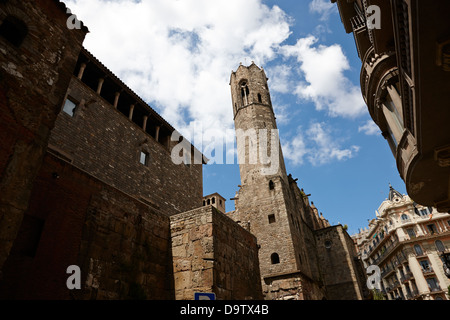 remnants remaining sections of old roman walls of barcelona and tower of chapel of st agatha catalonia spain - Stock Photo