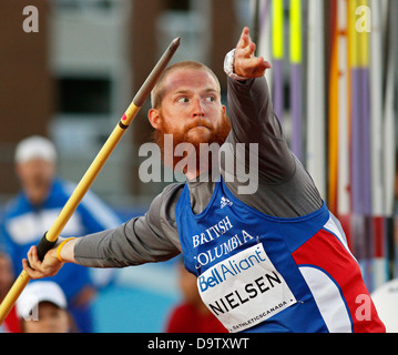 Javelin thrower Kyle Nielsen shows his winning form at the Canadian Track & Field Championships June 22, 2013, Moncton, - Stock Photo