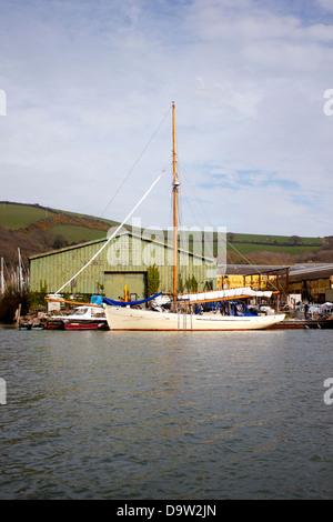 Sailing yacht, moored in the marina - Stock Photo