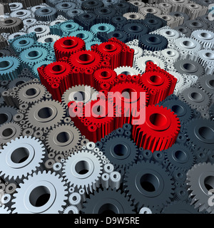 Business communication concept with a group of three dimensional gears and cogs shaped as jigsaw puzzle pieces connected - Stock Photo