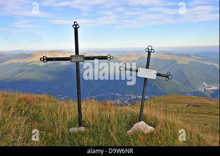 Crosses commemorating two people who died in the mountains, Bucegi Mountains, Romania - Stock Photo