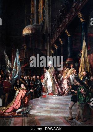 Une Ceremonie dans la basilique Saint Marc a Venice - A Ceremony in St. Mark's Basilica in Venice 1933 Eugene Isabey - Stock Photo