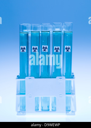 front view of experimental test tubes filled with transparent blue substance and marked as bio hazardous, against - Stock Photo