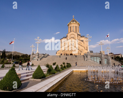 The Holy Trinity Cathedral, also known as Sameba, in Tbilisi, Georgia. - Stock Photo