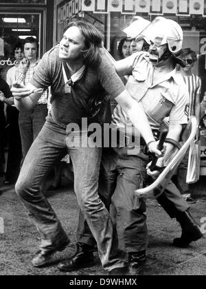 Demonstrators and police have one of the 'most brutal conflicts' in the last years on the 10th of May in 1976 in - Stock Photo