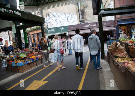 Borough Market Stalls - London UK - Stock Photo
