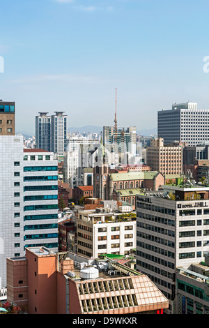 Modern architecture in the fashionable district of Myeong-dong, Seoul, South Korea, Asia - Stock Photo