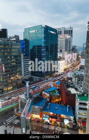 Modern architecture, Myeong-dong, Myeongdong, Seoul, South Korea, Asia - Stock Photo