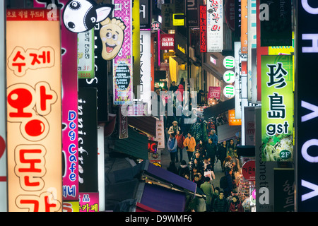 Neon lights in the restaurant and entertainment district of Myeong-dong, Seoul, South Korea, Asia - Stock Photo