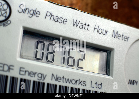 Close up of an electricity meter in a house, showing the number of watts of electricity used. - Stock Photo