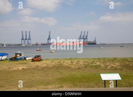 Harwich Essex South East England View across to Felixstowe Container Port from Beach and Foreshore - Stock Photo