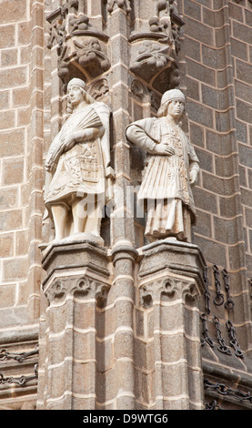 TOLEDO - MARCH 8: Statues from East facade of Monasterio San Juan de los Reyes - Stock Photo