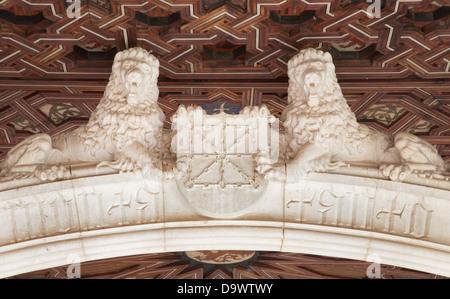 TOLEDO - MARCH 8: Lions statues atrium of Monasterio San Juan de los Reyes - Stock Photo