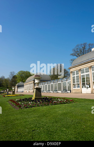 The Glass Pavilions at Sheffield Botanical Gardens, Sheffield, South Yorkshire, England. - Stock Photo