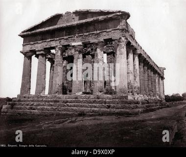Temple of Concordia, Girgenti, Sicily, ca 1865, by Roberto Rive - Stock Photo
