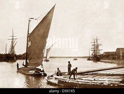 Great Yarmouth Breydon Water Norfolk Wherry early 1900s - Stock Photo