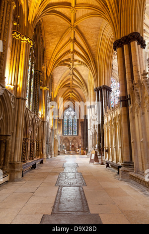 Inside The Nave Of Lincoln Cathedral Looking East Towards