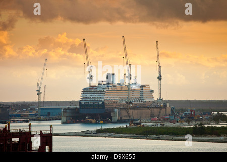 ship being repaired in dry dock in bahamas - Stock Photo