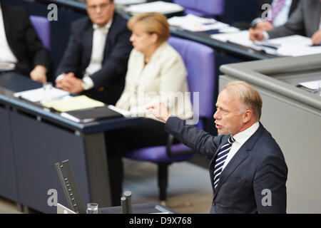 Berlin, Germany. 27th June 2013. Angela Merkel gives a Government statement on the issue of the past G8 summit and - Stock Photo