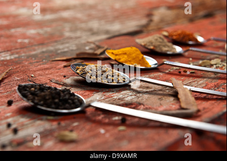 Table spoons heaped with different spices on an orange textured wooden surface. Artistic use of shallow depth of - Stock Photo