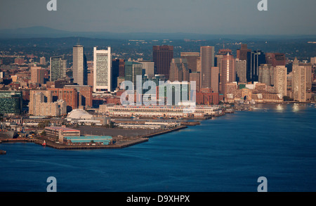 AERIAL morning view of Boston Skyline and Financial District and Wharf area, Boston, MA - Stock Photo