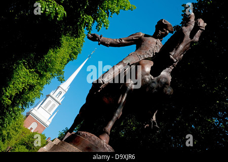 Bronze Statue Paul Revere on horse Freedom Trail in front Old North Church North End James Rego Square Hanover Street - Stock Photo